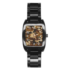 Brown Camo Pattern Stainless Steel Barrel Watch