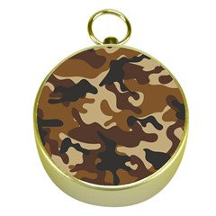 Brown Camo Pattern Gold Compasses