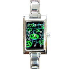 Green and blue abstraction Rectangle Italian Charm Watch
