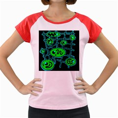 Green and blue abstraction Women s Cap Sleeve T-Shirt