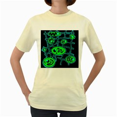 Green and blue abstraction Women s Yellow T-Shirt