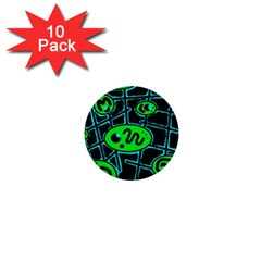 Green and blue abstraction 1  Mini Buttons (10 pack)