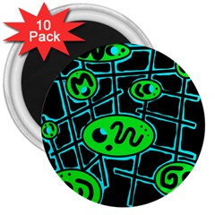 Green and blue abstraction 3  Magnets (10 pack)