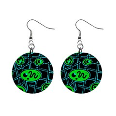 Green and blue abstraction Mini Button Earrings