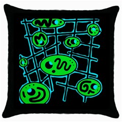 Green and blue abstraction Throw Pillow Case (Black)