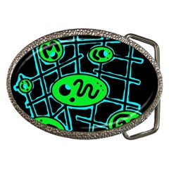 Green and blue abstraction Belt Buckles