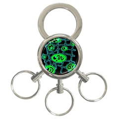 Green and blue abstraction 3-Ring Key Chains