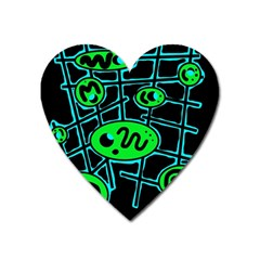 Green and blue abstraction Heart Magnet