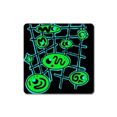 Green and blue abstraction Square Magnet