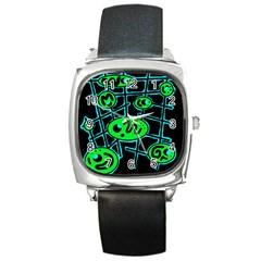 Green and blue abstraction Square Metal Watch