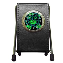 Green and blue abstraction Pen Holder Desk Clocks