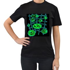 Green and blue abstraction Women s T-Shirt (Black) (Two Sided)