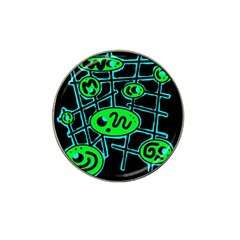 Green and blue abstraction Hat Clip Ball Marker