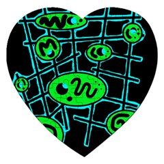 Green and blue abstraction Jigsaw Puzzle (Heart)