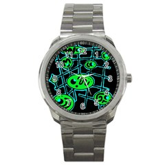 Green and blue abstraction Sport Metal Watch