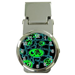 Green and blue abstraction Money Clip Watches