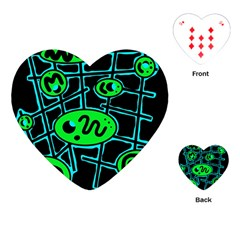 Green and blue abstraction Playing Cards (Heart)