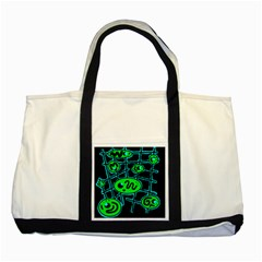 Green and blue abstraction Two Tone Tote Bag