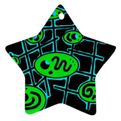 Green and blue abstraction Star Ornament (Two Sides)