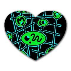 Green and blue abstraction Heart Mousepads