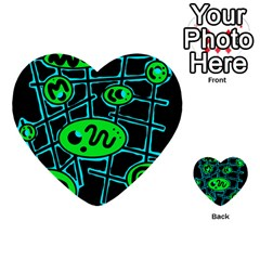 Green and blue abstraction Multi-purpose Cards (Heart)