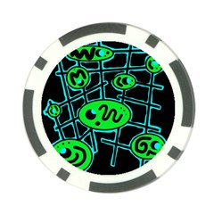 Green and blue abstraction Poker Chip Card Guards (10 pack)