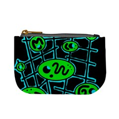 Green and blue abstraction Mini Coin Purses