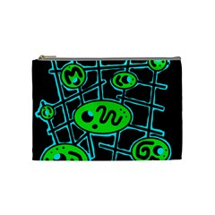 Green and blue abstraction Cosmetic Bag (Medium)
