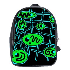 Green and blue abstraction School Bags(Large)