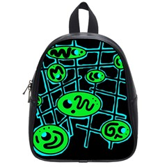 Green and blue abstraction School Bags (Small)