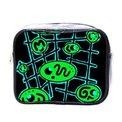 Green and blue abstraction Mini Toiletries Bags