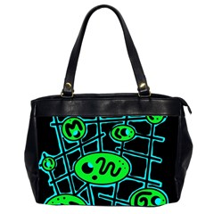 Green and blue abstraction Office Handbags (2 Sides)