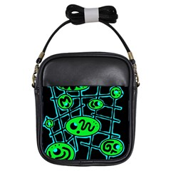 Green and blue abstraction Girls Sling Bags