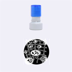 Green and blue abstraction Rubber Round Stamps (Small)