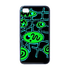 Green and blue abstraction Apple iPhone 4 Case (Black)