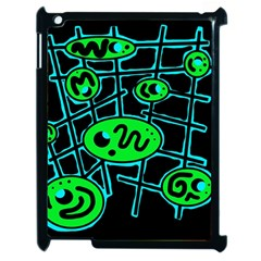 Green and blue abstraction Apple iPad 2 Case (Black)