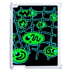 Green and blue abstraction Apple iPad 2 Case (White)