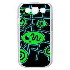 Green and blue abstraction Samsung Galaxy S III Case (White)