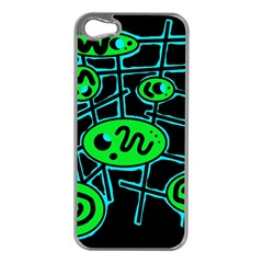 Green and blue abstraction Apple iPhone 5 Case (Silver)