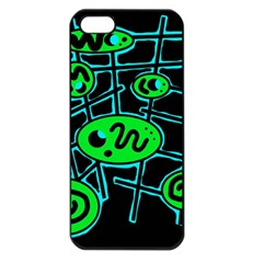 Green and blue abstraction Apple iPhone 5 Seamless Case (Black)