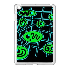Green and blue abstraction Apple iPad Mini Case (White)