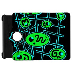 Green and blue abstraction Kindle Fire HD Flip 360 Case