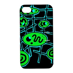 Green and blue abstraction Apple iPhone 4/4S Hardshell Case with Stand