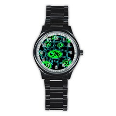Green and blue abstraction Stainless Steel Round Watch