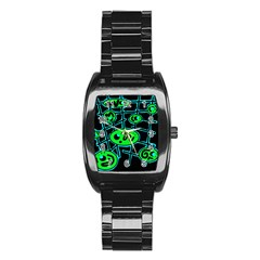 Green and blue abstraction Stainless Steel Barrel Watch