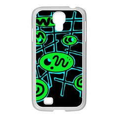 Green and blue abstraction Samsung GALAXY S4 I9500/ I9505 Case (White)