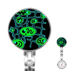 Green and blue abstraction Stainless Steel Nurses Watch