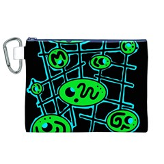 Green and blue abstraction Canvas Cosmetic Bag (XL)
