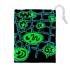 Green and blue abstraction Drawstring Pouches (Extra Large)
