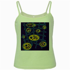 Purple and yellow abstraction Green Spaghetti Tank